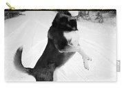 Frolicking In The Snow - Black And White Carry-all Pouch by Carol Groenen