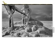 Frozen Grand Haven Lighthouse Black And White Carry-all Pouch