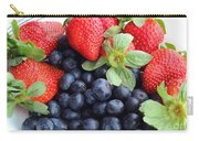 Fruit 2- Strawberries - Blueberries Carry-all Pouch by Barbara Griffin