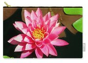 Fuchsia Pink Water Lilly Flower Floating In Pond Carry-all Pouch
