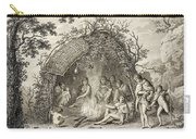 Fuegans In Their Hut, 18th Century Carry-all Pouch