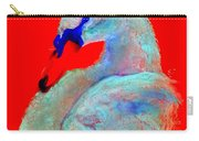 Funky Swan Blue On Red Carry-all Pouch
