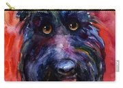 Funny Curious Scottish Terrier Dog Portrait Carry-all Pouch by Svetlana Novikova