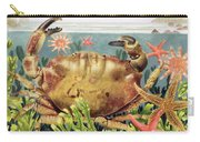 Furrowed Crab With Starfish Underwater Carry-all Pouch