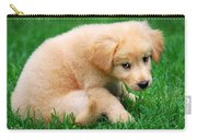 Fuzzy Golden Puppy Carry-all Pouch by Christina Rollo
