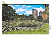 Garden With Bamboo Garden Fence In Battery Park In New York City-ny Carry-all Pouch by Ruth Hager