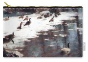 Geese On An Icy Pond Carry-all Pouch