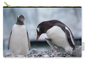 Gentoo Penguin With Chick Begging Carry-all Pouch