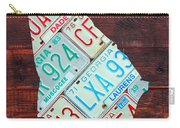 Georgia The Peach State License Plate Map On Fruitwood Carry-all Pouch