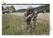 Georgian Army Sergeant Aims An M4 Carry-all Pouch