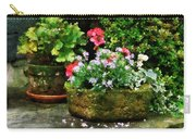 Geraniums And Lavender Flowers On Stone Steps Carry-all Pouch