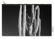 Giant Saguaro Cactus Portrait In Black And White Carry-all Pouch
