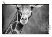 Giraffe Face In Black And White Carry-all Pouch