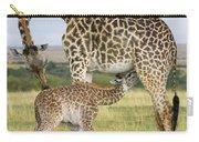 Giraffe Nuzzling Her Nursing Calf Carry-all Pouch