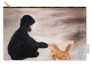 Girl And A Cat Carry-all Pouch by Anastasiya Malakhova