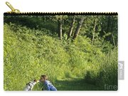 Girl And Dog On Trail Carry-all Pouch