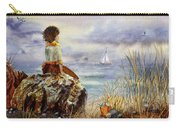 Girl And The Ocean Sitting On The Rock Carry-all Pouch