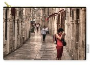 Girl In Red In The White Streets Of Dubrovnik Carry-all Pouch