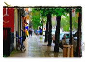 Girl In The Yellow Raincoat Rainy Stroll Through Streets Of The City Montreal Scenes Carole  Carry-all Pouch