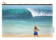 Girl On Surfer Beach Carry-all Pouch