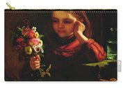 Girl With Flowers Carry-all Pouch by John Davidson
