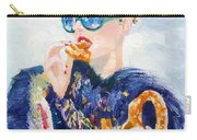 Girl With Glasses Eating Pretzel - Oil Portrait Carry-all Pouch