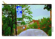 Girl With Large Umbrella Its Raining Its Pouring April Showers Montreal Scenes Carole Spandau Art Carry-all Pouch