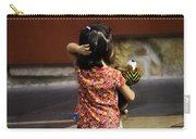 Girl With Toy Dog Carry-all Pouch by Mary Machare