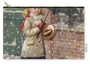 Girl With Umbrella In A Snow Shower Carry-all Pouch