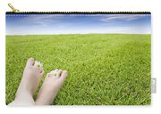 Girls Feet On Grass With Flowers Carry-all Pouch