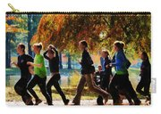 Girls Jogging On An Autumn Day Carry-all Pouch