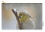 Gold Finch On A Snowy Twig With Verse Carry-all Pouch