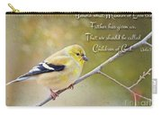 Gold Finch On Twig With Verse Carry-all Pouch