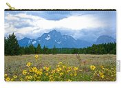 Golden Asters And Tetons From The Road In Grand Teton National Park-wyoming Carry-all Pouch