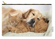 Golden Retriever And Orange Cat Carry-all Pouch