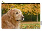 Golden Retriever Dog Autumn Leaves Carry-all Pouch by Jennie Marie Schell