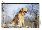 Golden Retriever Dog On Logs Carry-all Pouch