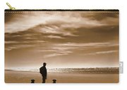 Golden Retriever Dogs End Of The Day Sepia Carry-all Pouch by Jennie Marie Schell