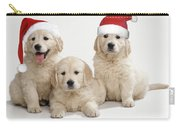Golden Retriever Puppies With Christmas Carry-all Pouch