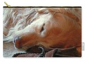 Golden Retriever Sleeping With Dad's Slippers Carry-all Pouch by Jennie Marie Schell