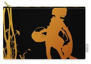 Golden Silhouette Of Child With Basket Walking In The Woods Carry-all Pouch