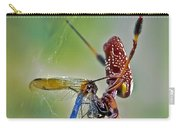 Golden Silk Orb With Blue Dragonfly Carry-all Pouch