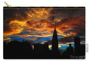 Golden Sunset Indigo Sky - With Chrysler Building Carry-all Pouch