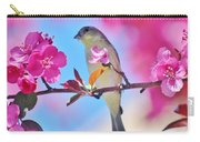 Goldfinch Behind Pink Blossoms 031015aaa Carry-all Pouch