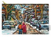 Good Day In January For Winter Stroll Snowy Trees And Cars Verdun Street Scene Painting Montreal Art Carry-all Pouch