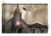 Gothic Surreal Haunted Church And Steeple With Crows And Ravens Flying  Carry-all Pouch
