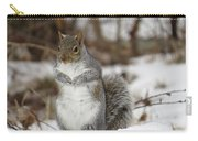 Gray Squirrel In Snow Carry-all Pouch