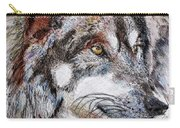 Gray Wolf Watches And Waits Carry-all Pouch by J McCombie