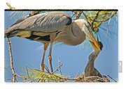 Great Blue Heron Adult Feeding Nestling Carry-all Pouch