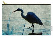 Great Blue Heron Fishing In The Low Lake Waters Carry-all Pouch